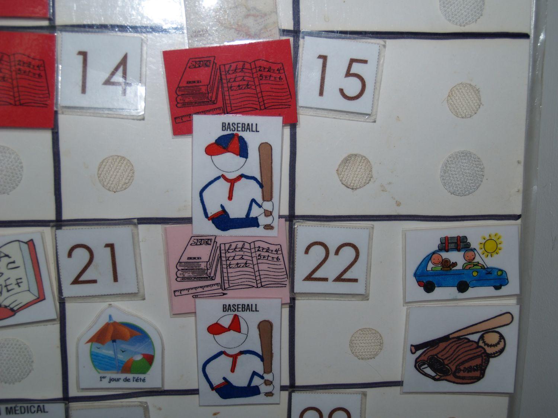 calendrier et pictogrammes